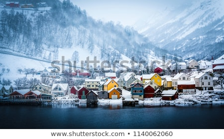 Noors winter Noorwegen dorp eilanden sneeuw Stockfoto © dmitry_rukhlenko