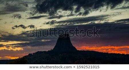 torony · naplemente · Wyoming · piros · izzik · kő - stock fotó © wildnerdpix