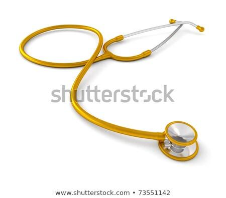 estetoscópio · ouro · reflexão · saúde · amarelo · prata - foto stock © markross