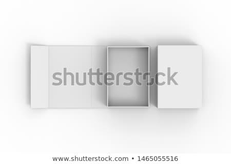Metal · kutu · kağıtları · yalıtılmış · beyaz · kâğıt - stok fotoğraf © Borissos