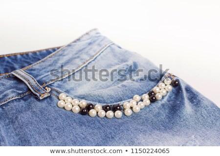 Nő kék ruha gyöngy gyöngyök közelkép Stock fotó © marylooo