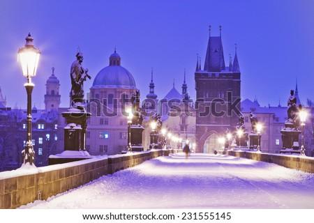 моста · зима · Прага · Чешская · республика · здании · свет - Сток-фото © phbcz
