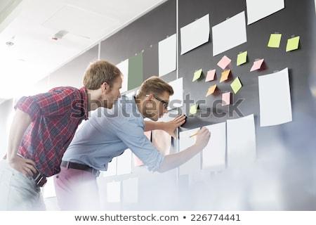 Foto stock: Dois · empresários · computador · reunião · laptop