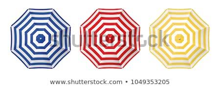 Praia guarda-chuvas um vermelho dois branco Foto stock © marekusz
