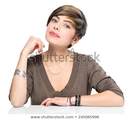 Modern Woman with Short Haircut Bob sitting Stock photo © gromovataya