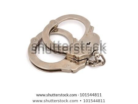 鋼 メタリック 手錠 孤立した 白 正義 ストックフォト © shutswis