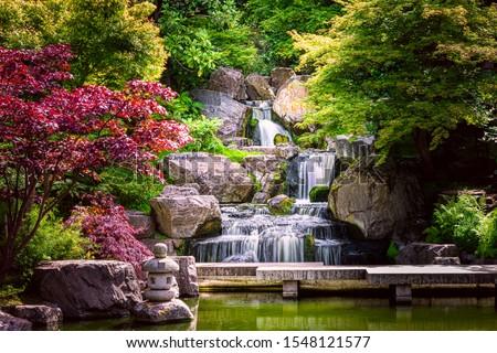 Stones and waterfall  in a Zen garden Stock photo © Lizard