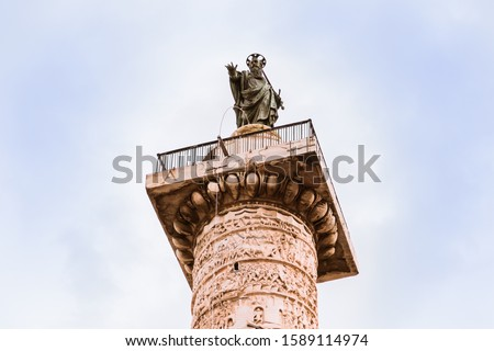 Marcus Aurelius Column Close Up Piazza Colonna Rome Italy Stock photo © billperry