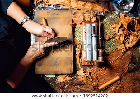 Cigaretta készít kéz tekert cigaretta izolált Stock fotó © Roka
