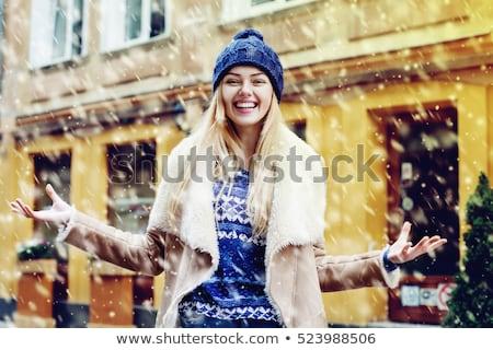 Fiatal nő izgatott hóesés visel tél ruházat Stock fotó © Rob_Stark