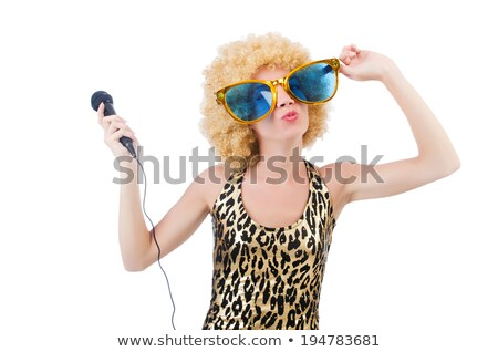 funny singer woman with mic and sunglasses isolated on white stock photo © elnur