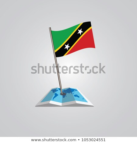 Saint Kitts and Nevis Small Flag on a Map. Stock photo © tashatuvango