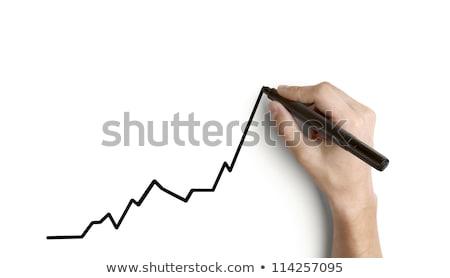 kéz · növekvő · grafikon · megbeszélés · bár · tanár - stock fotó © frameangel