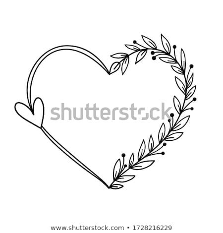 frame · steeg · bloemen · hartvorm · grens · vector - stockfoto © adamson