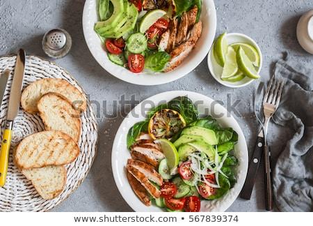 Sağlıklı akşam yemeği dengeli plaka hazır gıda Stok fotoğraf © smartin69