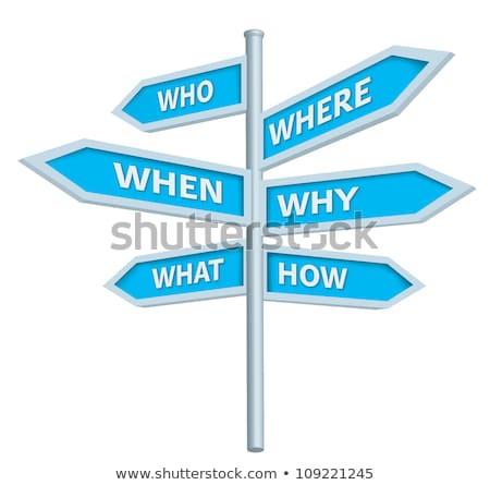 Respostas palavra placa sinalizadora céu assinar azul Foto stock © fuzzbones0