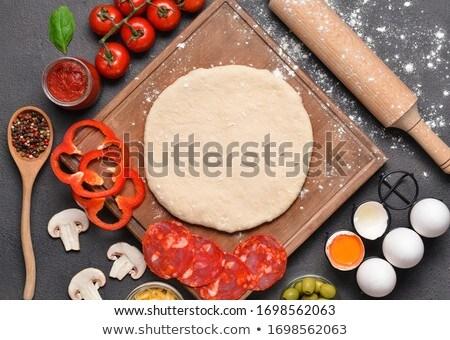 Stockfoto: Ruw · pizza · meel · witte · koken · vers