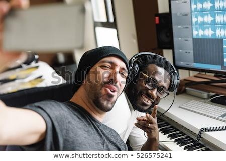 música · feliz · vintage · auriculares · alrededor - foto stock © Fisher
