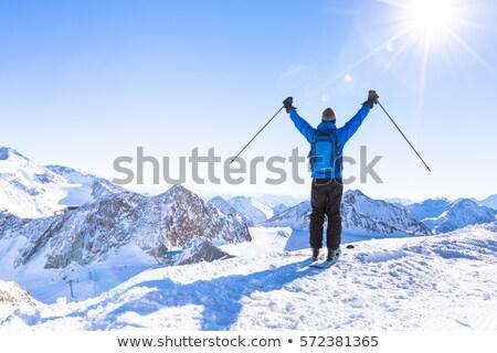 Uomo piedi view montagna resort Foto d'archivio © deandrobot