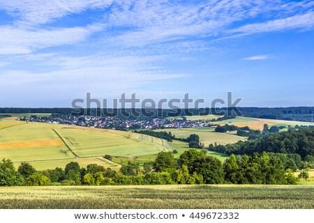 Stok fotoğraf: Küçük · köy · alanları · mavi · gökyüzü · doğa