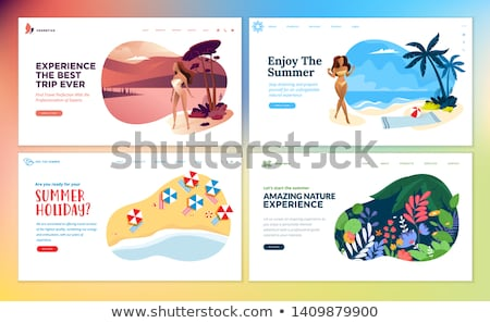 Foto stock: Tropicales · vacaciones · nina · sombrero · de · paja · caminando · playa