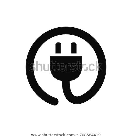 プラグイン アイコン 白 実例 エネルギー 電源 ストックフォト © nickylarson974