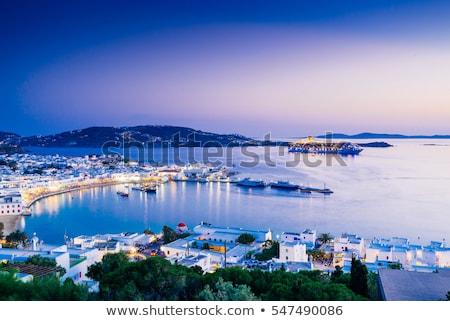 Güzel görmek Yunan liman gökyüzü gün batımı Stok fotoğraf © lucielang