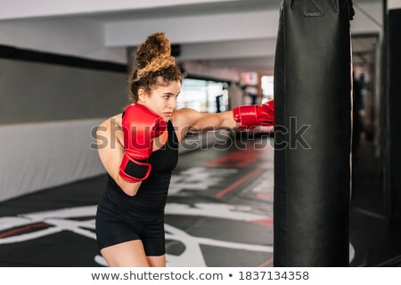 concentrated young strong sports lady boxer stock photo © deandrobot