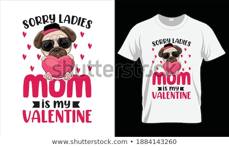'I love mom' text with red heart. T-shirt print design template. Stock photo © pashabo