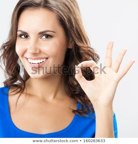 Alegre mulher jovem okay gesto foto Foto stock © deandrobot