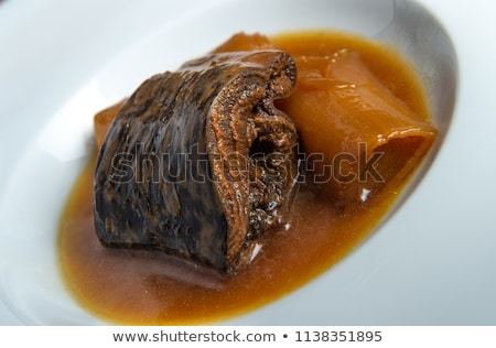 Lamprey with Bordeaux sauce with croutons and leeks Stock photo © FreeProd