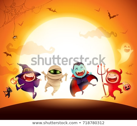 halloween holiday cartoon spooky characters group stock photo © izakowski