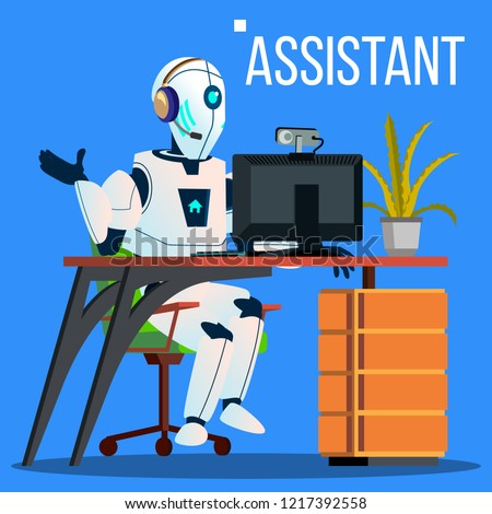 Answerphone, Robot With Headphones Answering The Phone Calls Vector. Isolated Illustration Stock photo © pikepicture