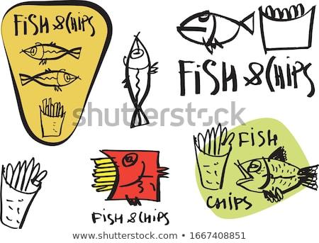 Croccante chip patate fette vettore icone Foto d'archivio © robuart