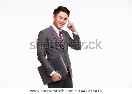 Iş adamı işaret parmak kafa bakıyor akıllı Stok fotoğraf © feedough