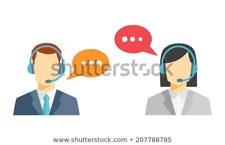 Stock photo: Female call center operator with headset icon client services we