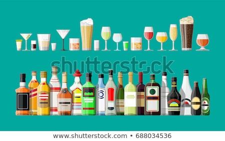 Illustration boissons alcool menu modèle bouteilles Photo stock © biv