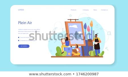 Kunst studio landing pagina vrouwelijke kunstenaar Stockfoto © RAStudio