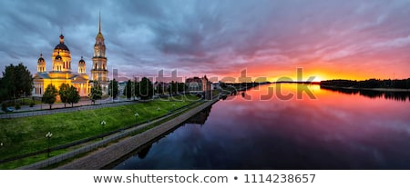 Naplemente Oroszország folyó víz felhők nap Stock fotó © borisb17