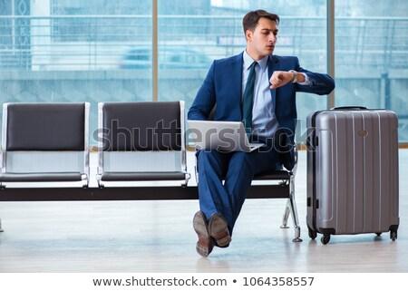Stok fotoğraf: Işadamı · bekleme · uçuş · havaalanı · adam · oda