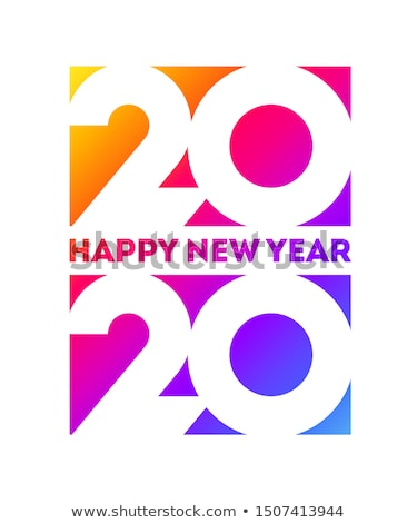 New Year 2020 logo with white numbers on rainbow gradient Stock photo © ussr