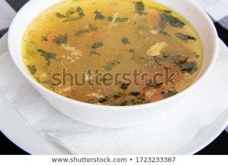 kip · bouillon · soep · plantaardige · alternatief · koud - stockfoto © furmanphoto