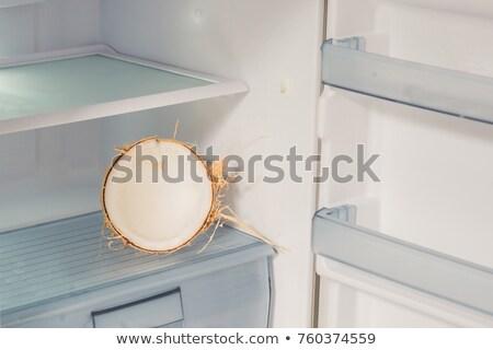 Kókusz hűtőszekrény előnyök víz haj levél Stock fotó © galitskaya