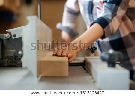 Közelkép ács nő körkörös dolgozik fából készült Stock fotó © Kzenon