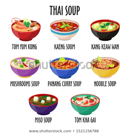 Kaeng soum thai soup icon, spicy tasty dish in colorful bowl isolated vector illustration. Stock photo © MarySan