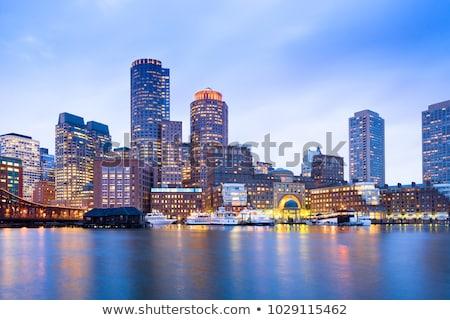 Foto stock: Boston · linha · do · horizonte · céu · paisagem · projeto · fundo