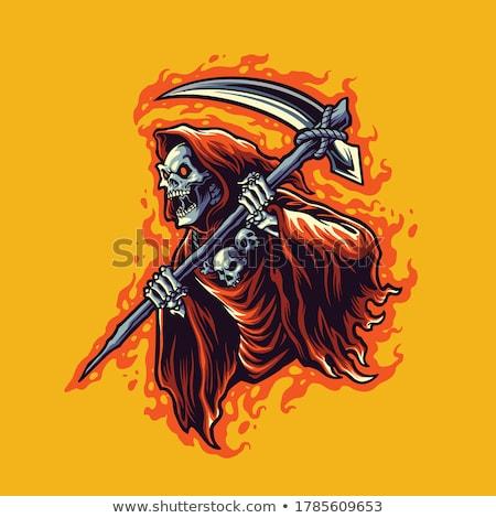 halloween holiday cartoon design with grim reaper stock photo © izakowski