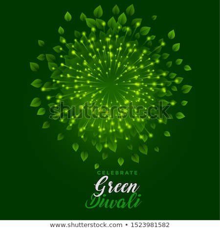 green fireworks with leaves for happy diwali celebration stock photo © sarts