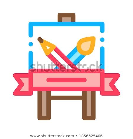 Studenten Malerei Lektion Symbol Vektor Gliederung Stock foto © pikepicture