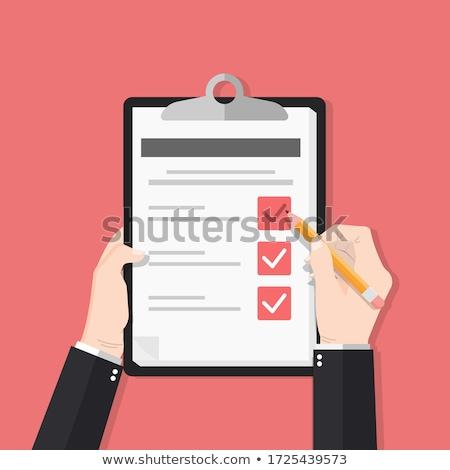 Kezek papír szolgáltatás felmérés illusztráció tart Stock fotó © lenm